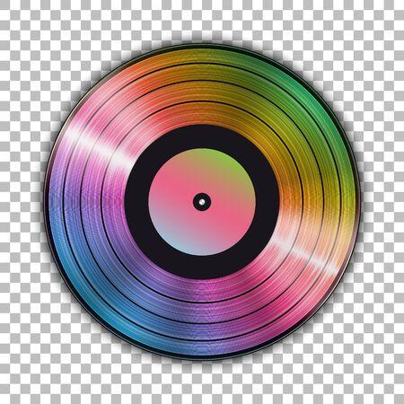 Gramophone iridescent vinyl LP record template isolated on checkered background. Vector illustration Ilustração