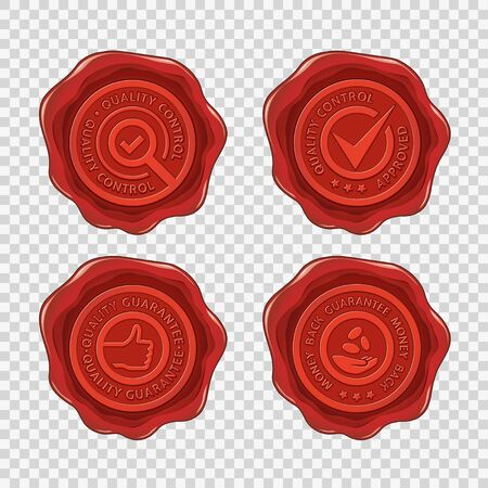 Quality and money back guarantee isolated red wax seals