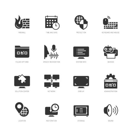 Operating system tools vector icon set in glyph style