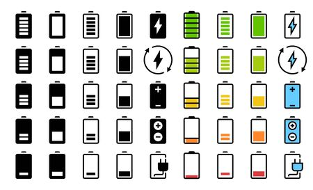 Battery Charging Indication, Level or State of Charge Vector Icon Set