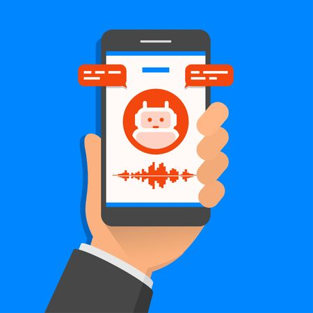 Hand holding smartphone with ai assistant on its screen, flat design style illustration