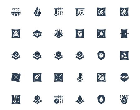 Properties of Fabrics and Clothes Icon Set in Glyph Style