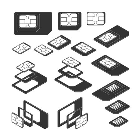 Three Types of SIM Card - Standard, Micro and Nano. Top and Isometric Views. Silhouettes