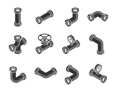 Isometric Pipes, Fittings, Valve and Meters Vector Icon Set in Glyph Style Ilustrace