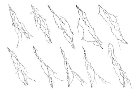 Isolated silhouettes of lightning flash on white background 1 Vektorgrafik