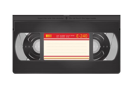 Realistic Video Recorder Tape. Video Cassette Isolated on a White Background 向量圖像