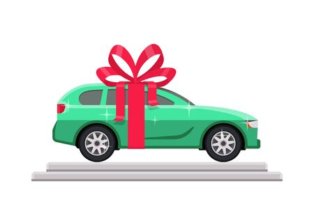 Green car with red bow on the podium in flat style. Vector illustration 向量圖像