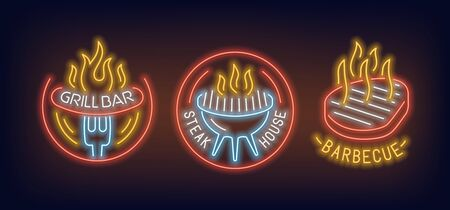 Neon signs of barbecue, grill bar and steak house 2