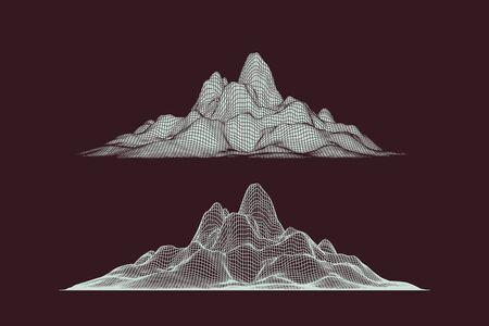 Abstract vector wireframe mesh mountains, front view