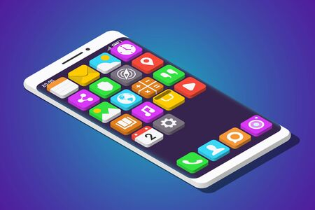 Modern Smartphone with Three-Dimensional Mobile Apps over It. Isometric Vector Illustration