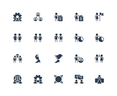 Business People, Communication and Professional Contacts Vector Icon Set in Glyph Style Foto de archivo - 150386430