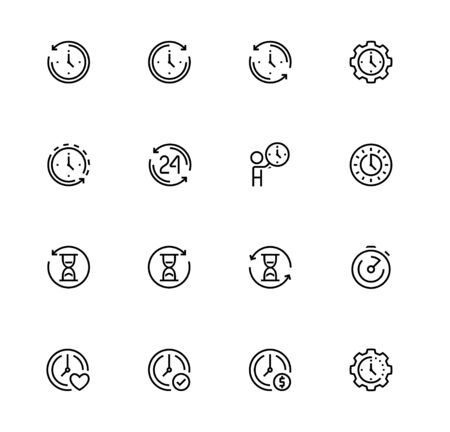 Time Related Vector Icon Set in Outline Style
