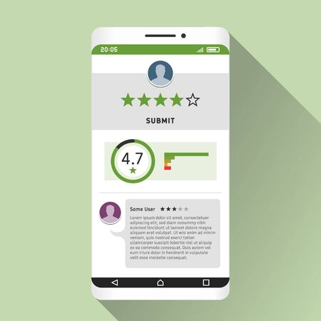 Smartphone and rating of mobile app on its screen. Flat design illustration Ilustração
