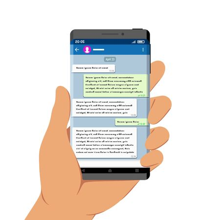 Hand Holding Smartphone with Messenger App on Its Screen, Flat Design Style Illustration