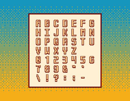 Retro vector pixel video game font - symbols, letters and numbers over dithering background