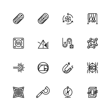 Science and physics related icon set in outline style Illustration