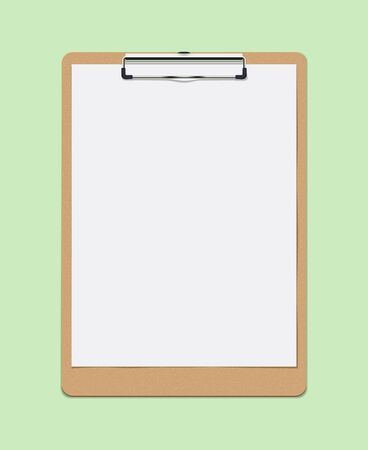 Realistic Vector Clipboard with Blank White Paper Leaf. Copyspace and Template 일러스트