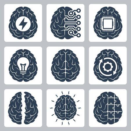 Brain and Cognitive Function Related Vector Icon Set Illusztráció