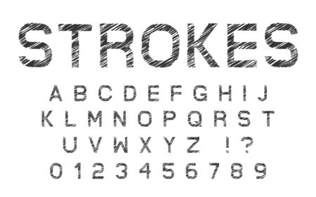 Sketched Strokes Latin Font, Letters and Numbers
