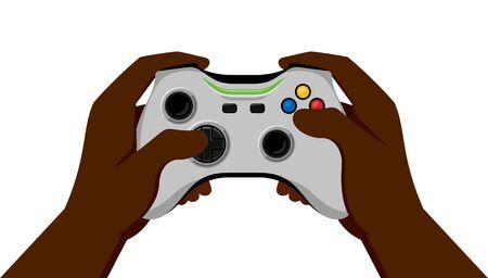 Black Hands Holding White Gamepad. Vector Illustration in Flat Design Style