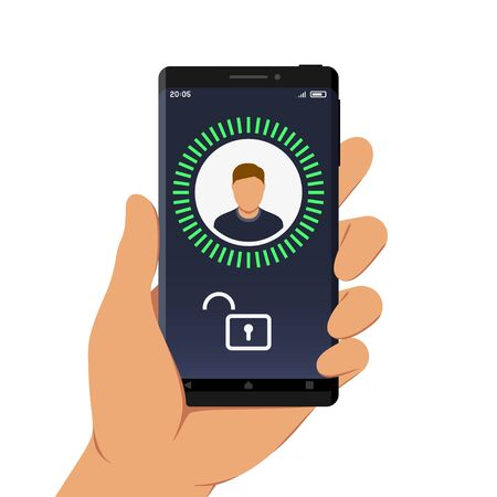 Hand Holding Smartphone with Face ID or Facial Recognition App on Its Screen, Flat Design Style Illustration Stock Illustratie