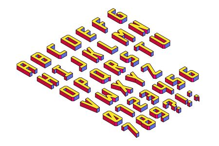Bright and Colorful Cubic and Blocky Isometric Font. Letters and Numbers