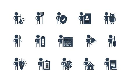 People and Professions, Activities, Occupation Vector Icon Set Stock fotó - 150396738