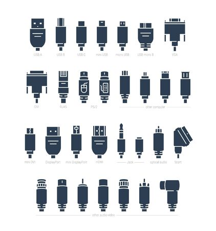 Audio, Video and Computer Cable Connectors Vector Icon Set in Glyph Style Ilustração