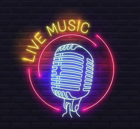 Round 'Live Music' Neon Sign with Microphone over Brick Wall Background Ilustração