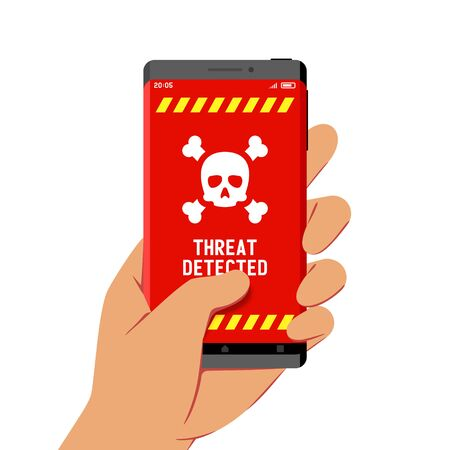Hand Holding Smartphone With Malware Threat Detection Warning on Its Screen, Flat Design Style Illustration