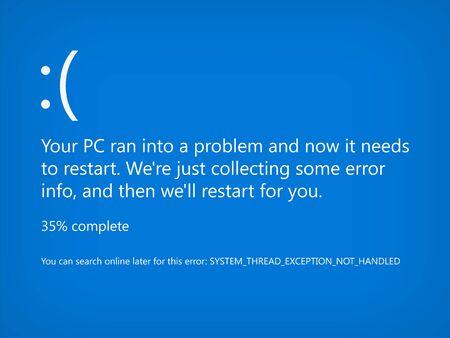 Modern blue screen of death BSOD. System crash error. Vector Illustration Ilustração