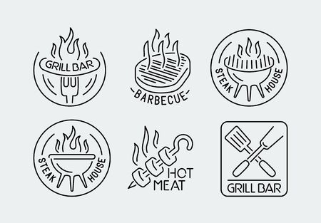 Grill and barbecue logos set in outline style