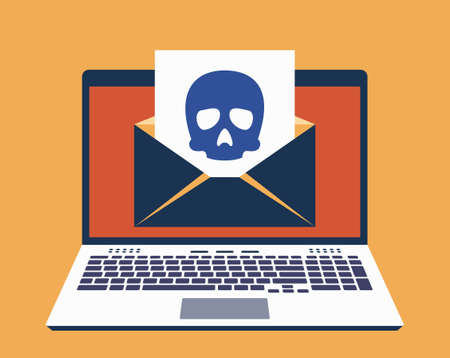 Laptop, E-Mail on Its Screen and Paper Leaf With Icon of Skull on It. Computer Virus Infected Mail Concept. Vector Illustration in Flat Design Style Ilustracja