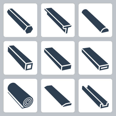Rolled Metal Products Vector Icon Set in Glyph Style 2
