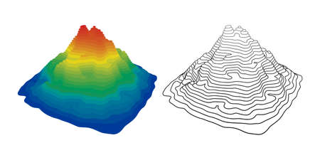 Vector Illustration of Mountain Topography on White Background