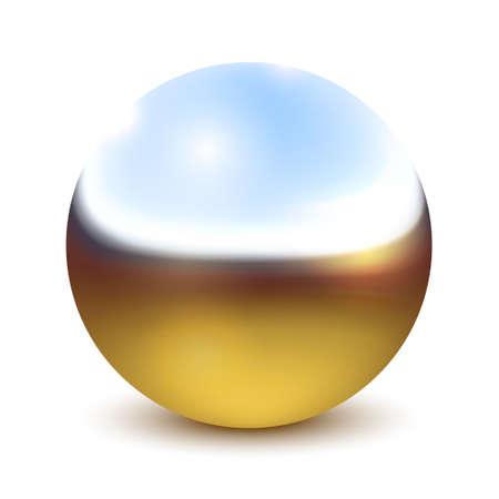 Vector Metal Bright Chrome Ball, Sphere Over White Ilustração