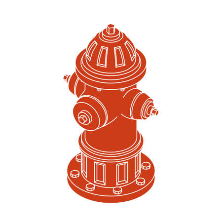 Isolated Isometric Silhouette of Red Fire Hydrant, Vector Illustration Ilustração