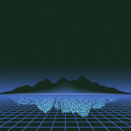Retro 80s Futuristic Deep Space Design. Laser Grid and Mountains with Reflection