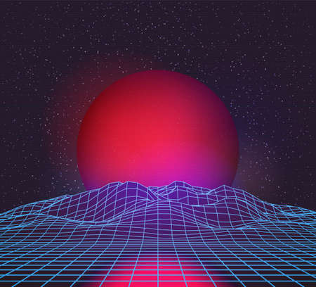 Retro 80s Futuristic Deep Space Design. Wireframe Mountains Out of Laser Grid and Red Planet or Sun Over Horizon Ilustração