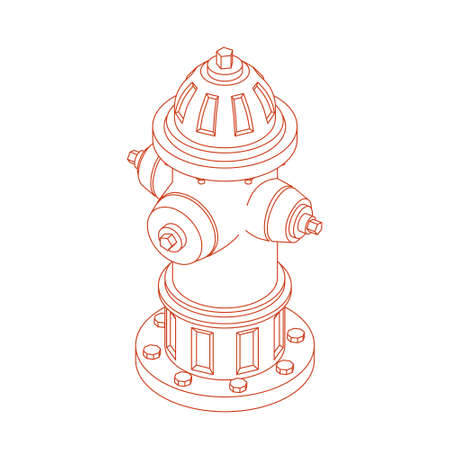 Isolated Isometric Fire Hydrant, Vector Illustration in Outline Style Ilustração