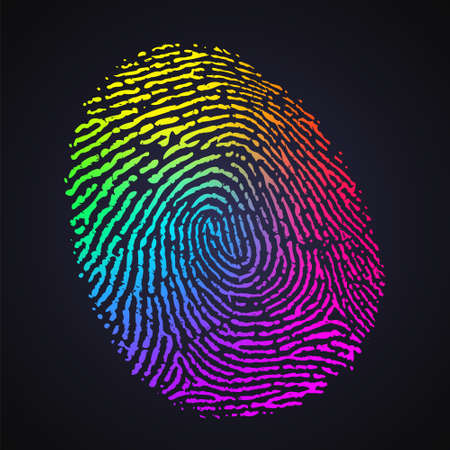 Vector Rainbow Multicolor Fingerprint on Dark Background