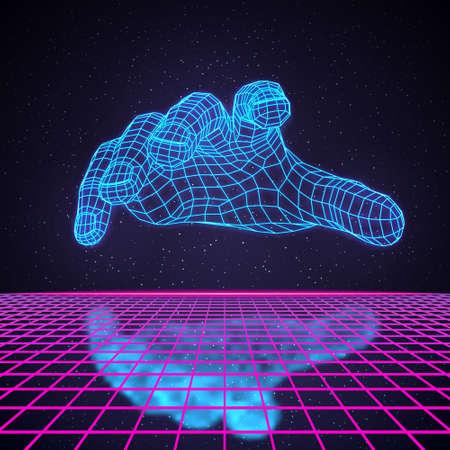 Retro 80s Futuristic Deep Space Design. Human Hand Hovering Over Laser Grid with Reflection Ilustração