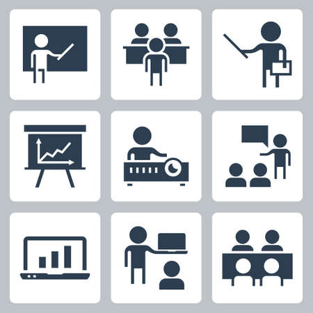 Presentation and Teaching Related Icon Set in Glyph Style