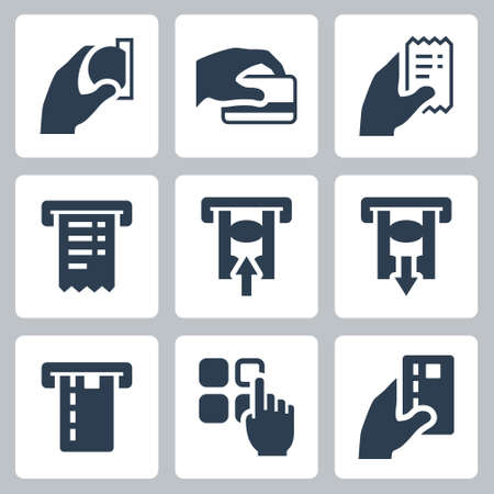 ATM Terminal Vector Icon Set in Glyph Style