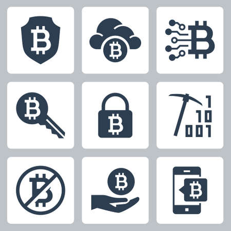 Cryptocurrency Mining Vector Icon Set in Glyph Style