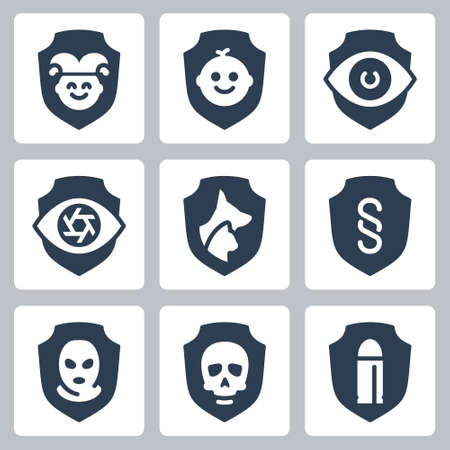 Resistance, Protection from External Influence and Guarding Related Vector Icon Set in Glyph Style Ilustração