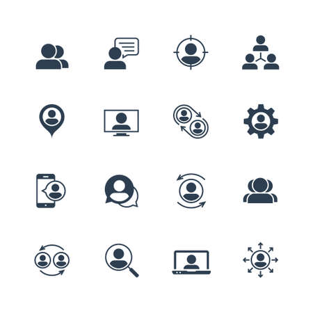Vector Icon Set of User Avatars for Web Account. Glyph Style