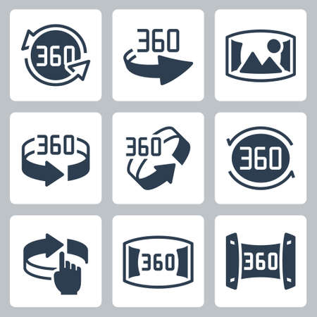 360 Degrees Rotation and Panoramic View Icon Set