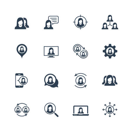 Vector Icon Set of Female User Avatars for Web Account. Glyph Style