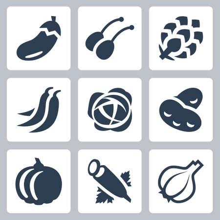 Vegetables Vector Icon Set in Glyph Style 2 Ilustração